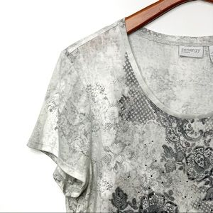 CHICO'S Zenergy Grey Embellished Lace T-Shirt Sz 3